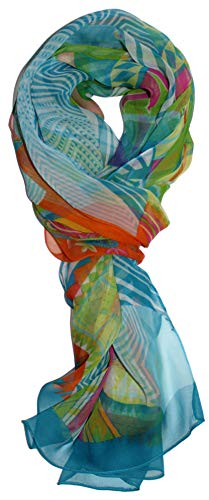 Ted and Jack - Pretty Chiffon Silk Blend Graphic Scarf (Light Blue Graphic) ()