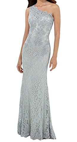 OLadydress One Shoulder Beaded Lace Satin Floor Length Evening Dress for Women Grey US6 - Length Beaded Satin