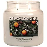 Village Candle Winter Clementine 16 oz Glass Jar Scented Candle, Medium