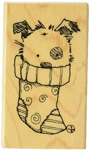 Inkadinkado Puppy Dog in Christmas Stocking Mounted Rubber Stamp for Card Making and Scrapbooking, 1.5'' x 2.5''