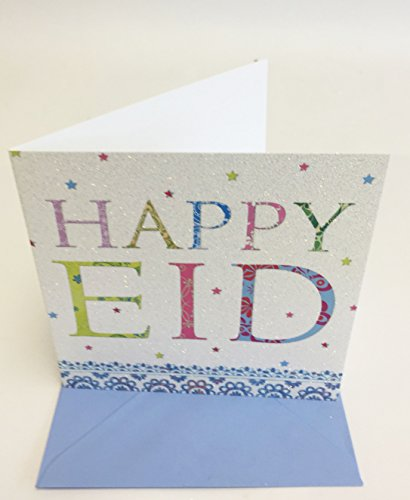 Eid Mubarak Happy Eid Party Greeting Card Glitter Finish