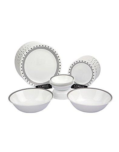 Corelle India Impressions City Block Glass Dinner Set, 20-Pieces, White/Black