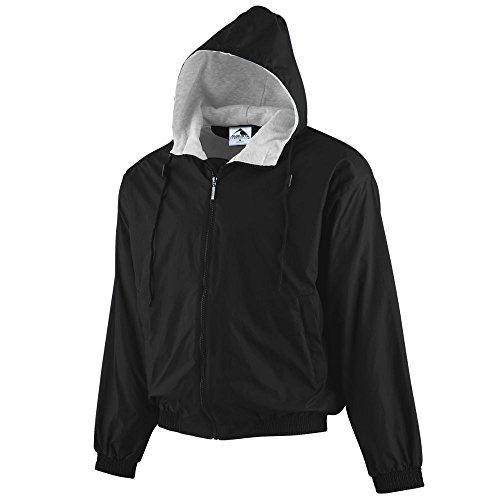 Augusta Sportswear Unisex-Adult Hooded Taffeta Jacket/Fleece Lined, Black, Large