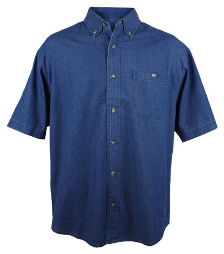 Tri-Mountain Men's 7 oz Denim Stonewashed Shirt w/Pocket