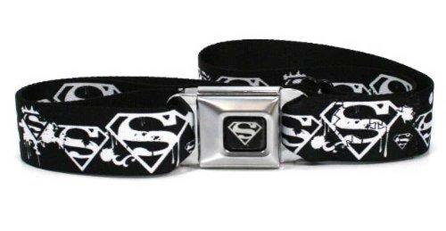 Superman Logo Seatbelt Buckle Black Strap Belt, Official Licensed