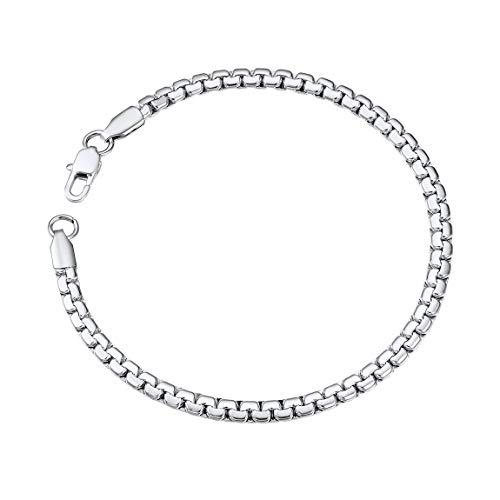 ChainsPro Venetian Round Box Chain Bracelet with Lobster Clasp 4mm 20CM Classy Women Men Jewelry Gift Box