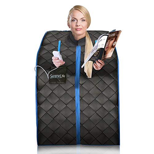 SereneLife Portable Infrared Home Spa | One Person Sauna | with Heating Foot Pad and Portable Chair (Jnh Lifestyles 2 Person Far Infrared Sauna)