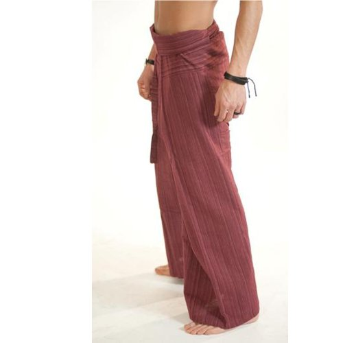 POSEIDON B : Thai Fisherman Pants Handwoven Cotton Traditional Tailoring Style for Spa, Massage, Yoga Trousers, Tai Chi, Beach Pants (Brick Red Line) For Sale