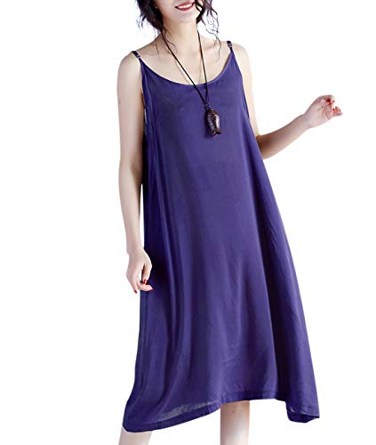 (YESNO JEL Women Casual Loose Slip T-Shirt Dresses Beach Cover up Plain Dress A Skirt Hemline (XL, JEL Violet))