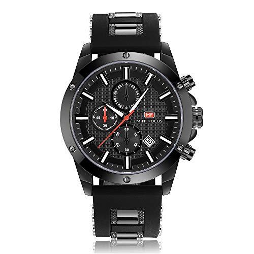 Casual Sport Watches for Men,Fashion Quartz Watch,MINI FOCUS Mens Chronograph Waterproof Wristwatch with Date Display (Black) ()
