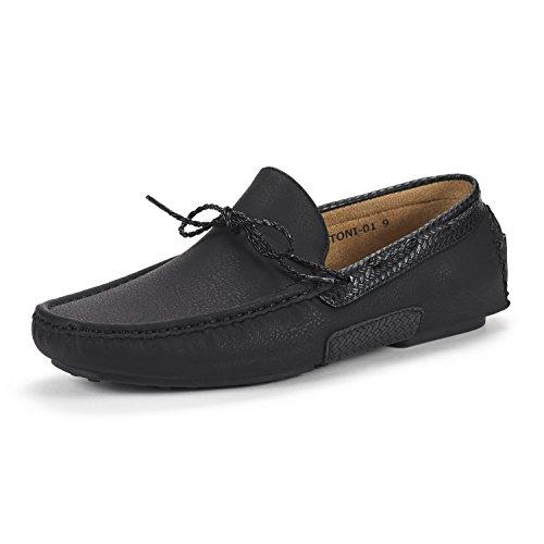 BRUNO MARC NEW YORK Men's Santoni-01 Black Penny Loafers Moccasins Shoes Size 11 M US - Moccasin Mens Shoes