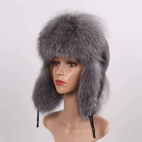 KAIJIN Nouvelle Hiver Réel De Fourrure De Renard Chapeaux Femmes Russes Fluffy Fox Fur Ushanka Chapeau Dame Épaisse Chaud Oreilles En Cuir En Mouton Cap En Cuir