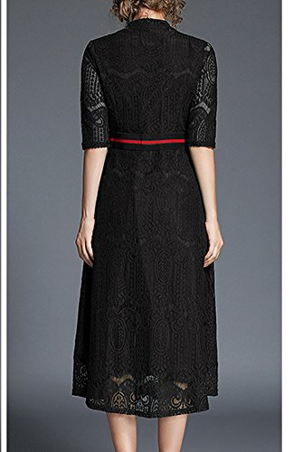 Party Line Women YL00611 Hollow Midi Sleeve Black Evening Short A Lace Dress Solid DISSA wP5dzOqq