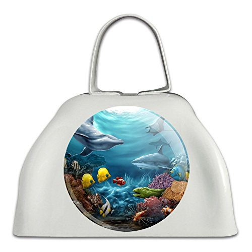 Coral Reef Ocean Scene Dolphin Turtle Shark Stingray Fish White Metal Cowbell Cow Bell Instrument ()