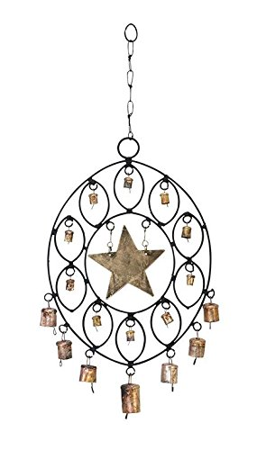 Deco 79 26663 Metal Oval Decorative Wind Chime, 11 by 16-Inch For Sale