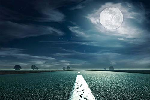 Baocicco 9x6ft Highway Backdrop Full Moon Dark Clouds Deserted Road Horror Night Moonlight Photography Background Halloween Party Zombie Party Werewolf Vampire Witch Wizard Photo Studio Props]()