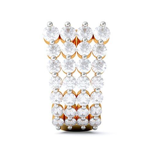 Or jaune 14K 1.55carat au total White-diamond (IJ | SI) Boucles d'oreilles créoles