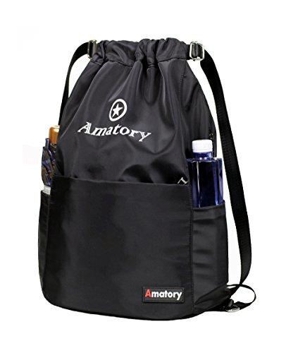 Drawstring Backpack Bag String Sackpack Gymsack Waterproof Gym Cinch Sack School (Black) (Drawstring Backpack Sack)