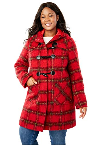 Woman Within Plus Size Classic Duffle Coat - Brushed Red Plaid (Yarn-Dye), 14 W -
