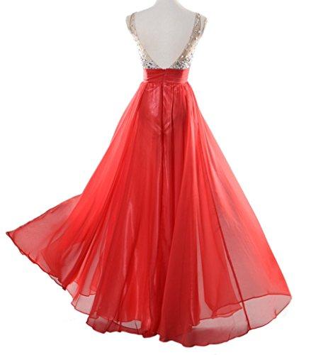 Eyekepper Vestido de Baile Largo de Fiesta de Noche de Novia de La Gasa Con Lentejuelas de Cuello en V de Las Mujeres Rojo
