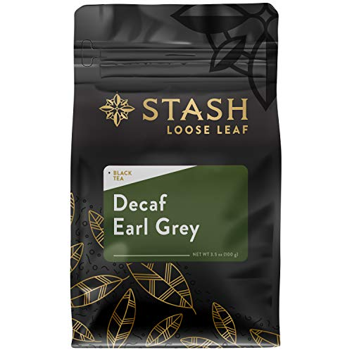 Stash Tea Decaf Earl Grey Loose Leaf Tea 3.5 Ounce Pouch (Packaging May Vary) Loose Leaf Premium Black Tea for Use with Tea Infusers Tea Strainers or Teapots, Drink Hot or Iced, Sweetened or Plain