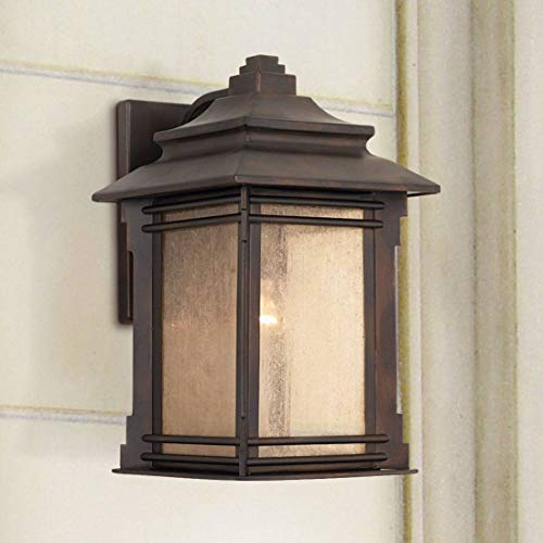 - Hickory Point Rustic Farmhouse Outdoor Wall Light Fixture Walnut Bronze 19