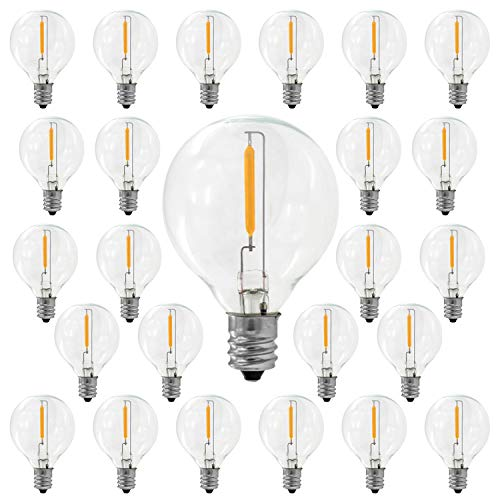 Emitting G40 Dimmable Clear Globe Bulbs Replacement Bulbs E12 G40/G16.5 Screw for Indoor Outdoor Patio String Lights Clear Glass (25 Pack- G40)
