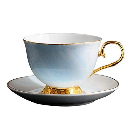 ZSAIMD 300ml Hand painted High-grade Coffee Cup Saucer Set European-style Marble Phnom Penh Ceramic afternoon tea Cup Coffee Mug Tea Cups, Beer Glasses, Latte Mug, Mugs, Glass - Metal Painted 300 Hand