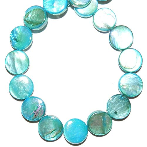 Bead Jewelry Making Blue AB 10mm Flat Round Coin Mother of Pearl Gemstone Shell Beads ()