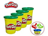 Play-Doh Green Modeling Compound 4-Pack (4 Ounce Cans with Bonus Accessories Kit (17oz Total) Non Toxic, Ages 2 and Up