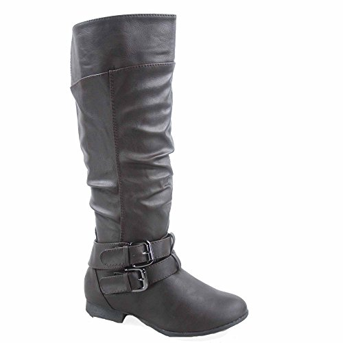 Coco-20 Women's Fashion Round Toe Low Heel Knee High Zipper Riding Boot Shoes