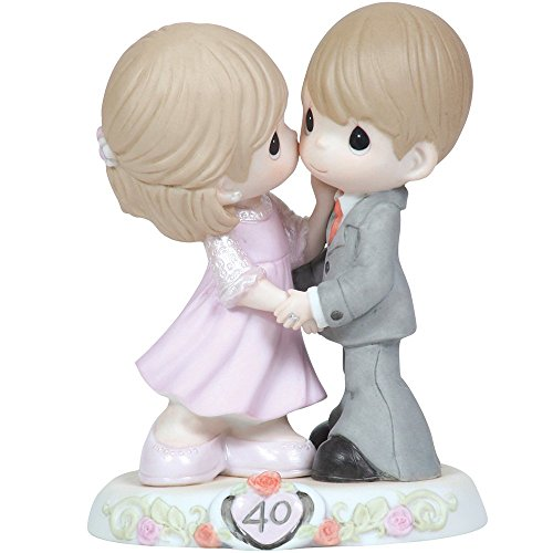 (Precious Moments,  Sweeter As The Years Go By - 40th Anniversary, Bisque Porcelain Figurine, 113008)