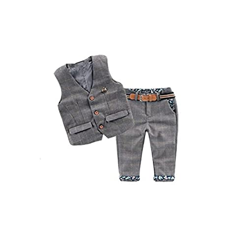 Baby Vintage Style and Wedding Tuxedo Waistcoat Outfit Suit (1-2T, Grey)
