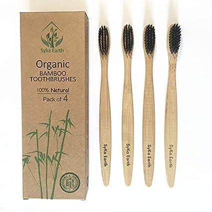 Cepillo de dientes de bambú natural con cerdas infundidas de carbón vegetal | 100% biodegradable