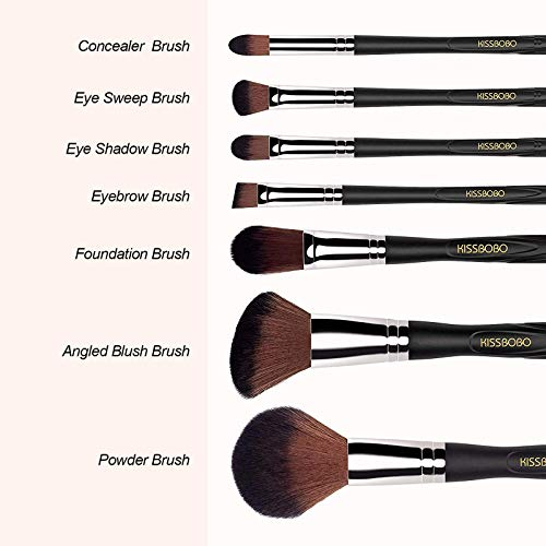 KISSBOBO Makeup Brushes for Powder Concealer Eyeshadow Blending Blush Eyebrow Foundation (7 Pcs)