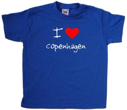 - I Love Heart Copenhagen Royal Blue Kids T-Shirt (White print)-14-15 Years