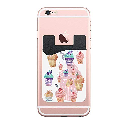 CardlyPhCardH Jianyue Watercolor Cupcake Cell Phone Stick On Wallet Card Holder Phone Pocket for Android and All Smartphones 2 PCS]()