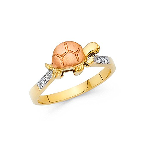 14k Gold Polished Turtle (14k Rose Yellow Gold Baby Turtle Ring CZ Good Luck Band Satin & Polished Finish Two Tone Size 6.5)
