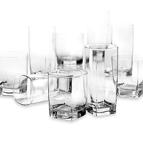 DailywareTM Sterling 16-Piece Set, Modern Designed Glasses