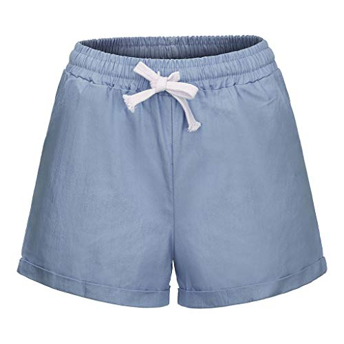 JOFOW Shorts Summer Womens Solid High Waist Drawstring Tie Plus Size Elastic A Line Mini Pants Loose Comfy Casual Short Trousers (XL,Pale Blue)