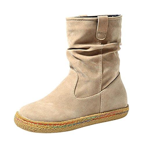 Creazy Ladies Womens Female Suede Biker Ankle Trim Flat Ankle Warm Martin Boots Shoes (Beige, 42)