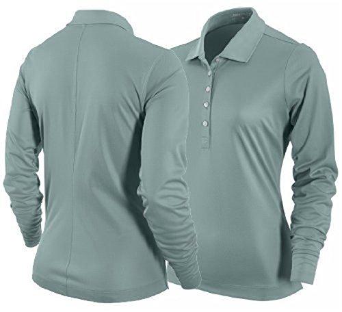 Nike Golf Women's Tech Essentials UV Pique Long Sleeve Polo Cannon BLUE GREEN XS