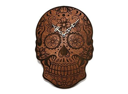 Sugar Skull - Day of the Dead - Dia De Los Muertos - Sugarskull Makeup - Engraved Wooden Wall Clock -