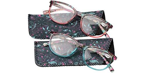 SOOLALA Designer Spring Hinge Wayfarer Wide Lens Reading Glass w/ Pouch, BlueRed, - Folding Glasses Prescription Uk