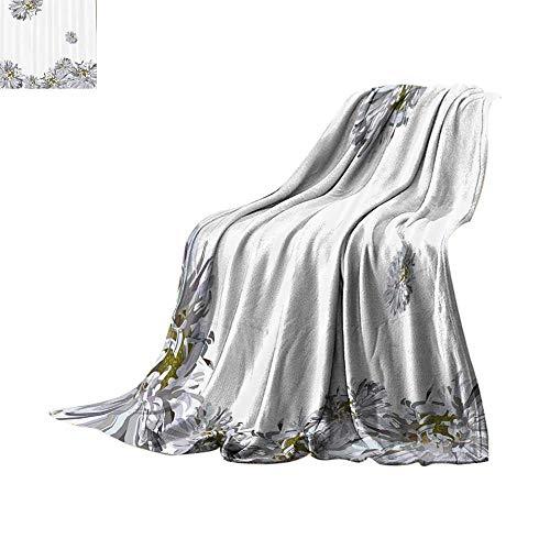 Throw Blanket Dahlia Flower Decor,Flourishing Summer Fusion Poppy Chamomile Purity Icons of Habitat Art,Grey Mustard Plush Throw Blanket Bed or Couch 70