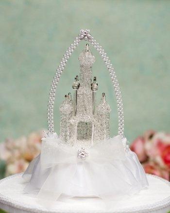 Wedding Collectibles Cinderella Castle Cake Topper with Arch: Skirt Color: White - Wedding Cake Topper Cinderella