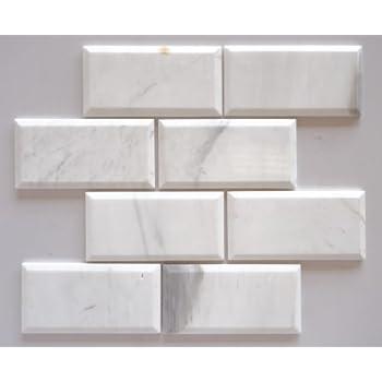 quality beveled subway tile   Dolomite White (Bianco Dolomiti) Marble 3 X 6 Deep-Beveled ...