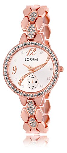 Lorem Analog Silver Dial Women's and Girl's Watch   LR215