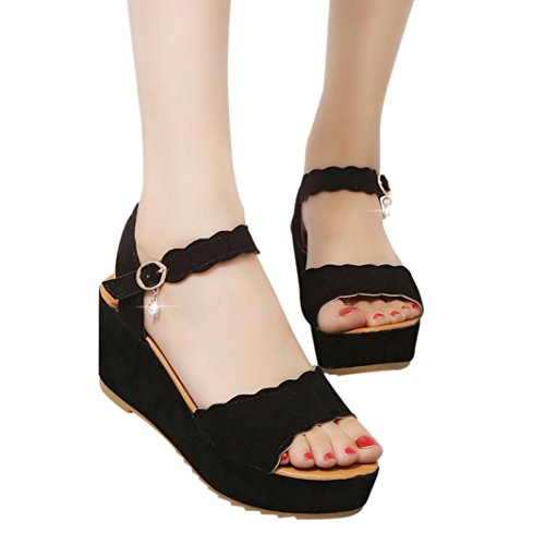 (Hot Sale! ❤️ Women Sandals, Neartime Summer Fish Mouth Non-slip Platform High Heels Shoes Buckle Slope Sandals (US:5.5, Black))