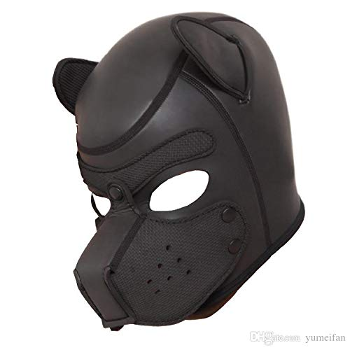 ZHS Quality Soft Padded Latex Rubber Puppy Play Dog Cosplay Full Head Mask with Ears Fetish Muzzle Hood Pet Role Play Gimp Costume 1pc by Zhonghaisun (Image #4)